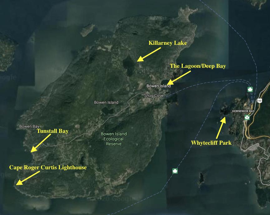 Map of good birding spots on Bowen Island