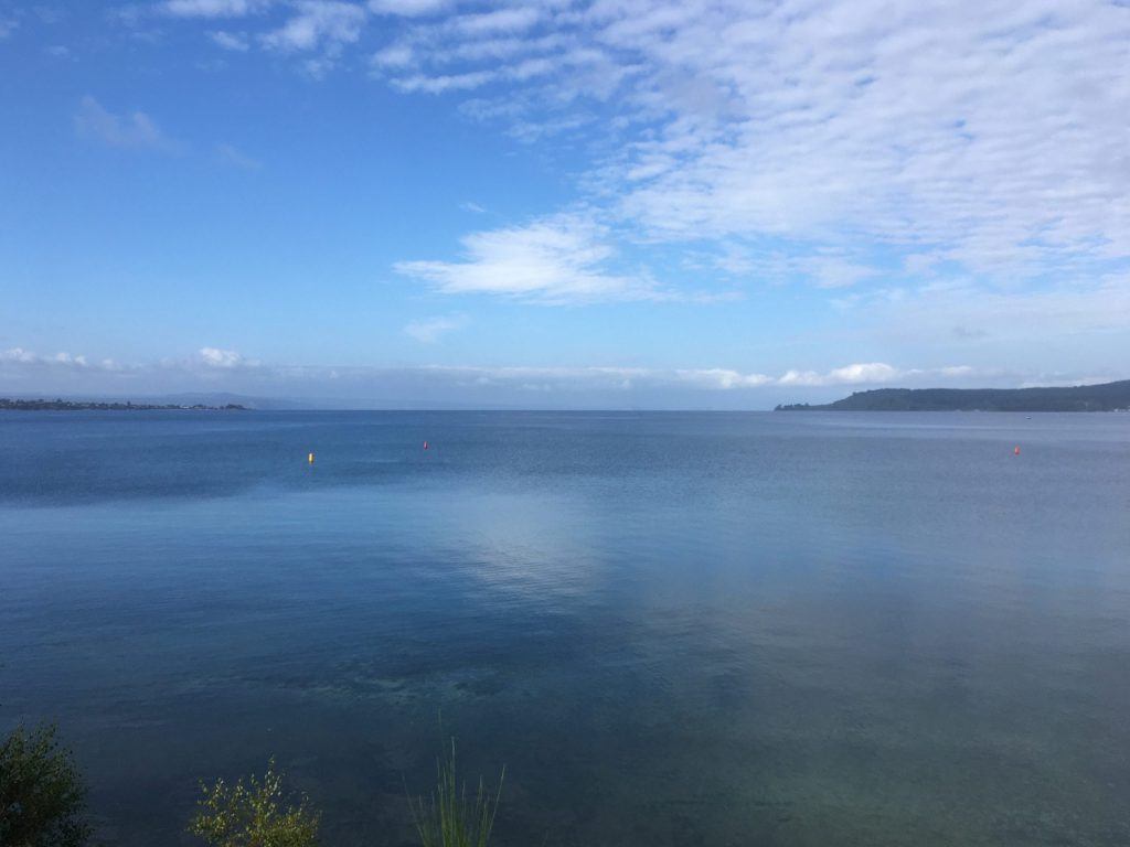 Looking south across Lake Taupo from the town