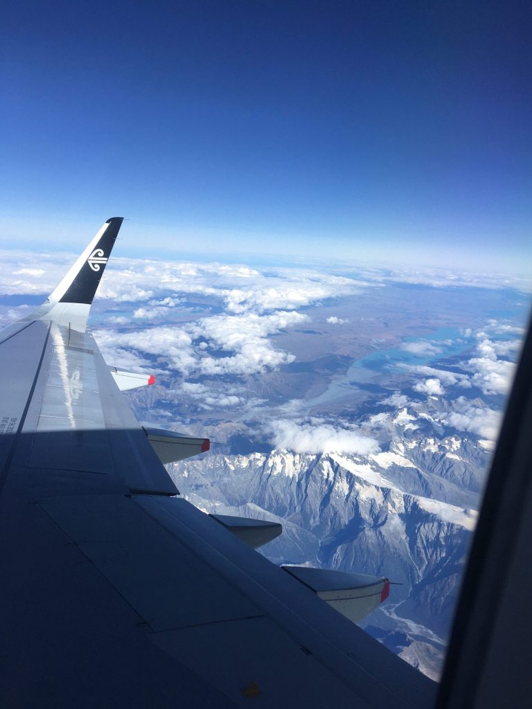 One view from our Queenstown-to-Auckland flight: Lake Pukaki and the Tasman delta on the right, Lake Tekapo on the top left, and Mt. Aoraki/Cook tucked under the wing