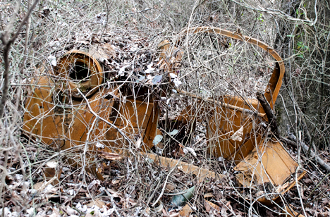 Not far from the Creek Road bridge are these remains of an old vehicle. The right fender and the hardware which held the radiator in place are still there, but just barley. How it wound up in a creeks bottoms will remain a mystery.
