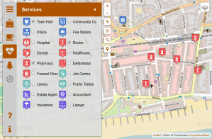 A map with doctors and pharmacies around the town hall in Bexhill-UK