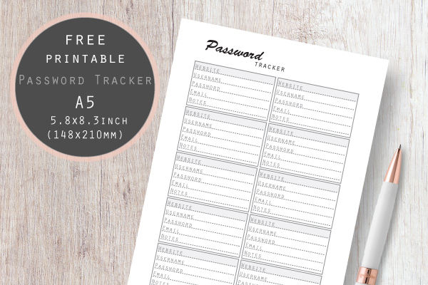 photograph regarding Password Tracker titled Pword Tracker Template Free of charge PDF Printable Planner Increase A5