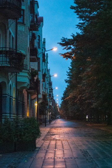 Still dark and the streets are wet from the night's rain. September 16, 2013.