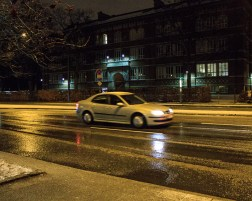 Wet on the streets.