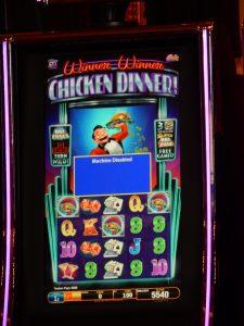 """A """"Winner! Winner! Chicken Dinner! slot machine in Monte Carlo."""