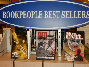 The Color of Evil (Bk. #1); Red Is for Rage (Bk. #2); and Khaki = Killer (Bk. #3) on the shelves of the bookstore voted Best Independent Bookstore in the U.S. by Publisher's Weekly.