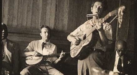 Pete Seeger (left) and Woody Guthrie in 1950