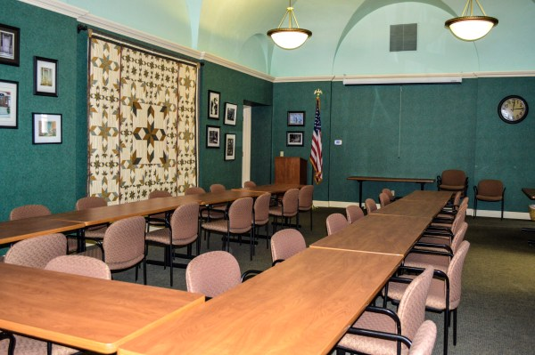 This large conference area is where many round table discussions take place, and the room is available for rent to the public, as well.