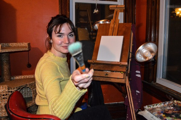 In the winter, Patricia paints in the couple's dining room, but during the warmer months she moves her operation to the garage in the backyard.