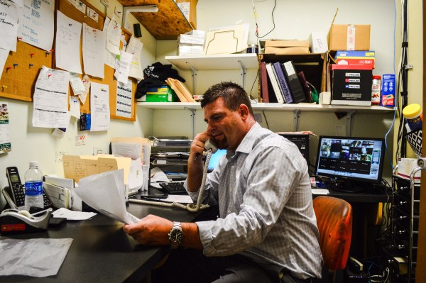 Co-owner Jason Miller's office is not very large, but that's OK with him because he seldom finds himself inside of it.