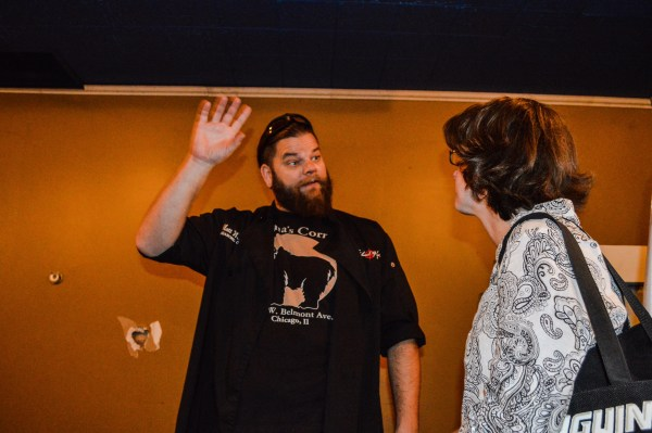 Welsch explains one of his wishes to Wheeling architect Wendy Scatterday.