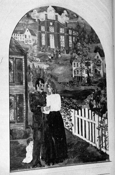 This mural was located on the wall of the old West Liberty Academy library in McCullough Hall. It shows Captain W.B. Curtis leaving for the war, saying goodbye to his wife Hannah and their daughter Maude.
