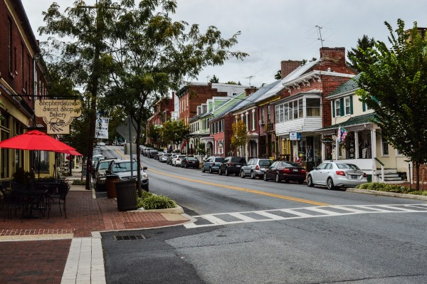 Downtown Sherpherdstown has been preserved and is crowded with boutique businesses and restaurants.