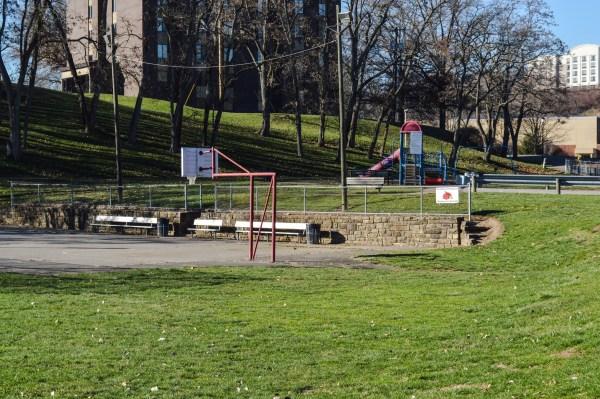 The Pleasanton Playground rests in the shadows of Wheeling Jesuit University.