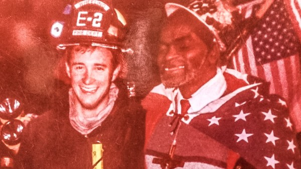Charles Waldrum has long been an ally of the Wheeling Fire Department. Here he is pictured with former firefighter Joe Leffe Jr.
