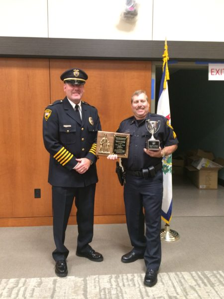 Wheeling Police Chief Shawn Schwertfeger was on hand when Sgt. Schultz received his awards.