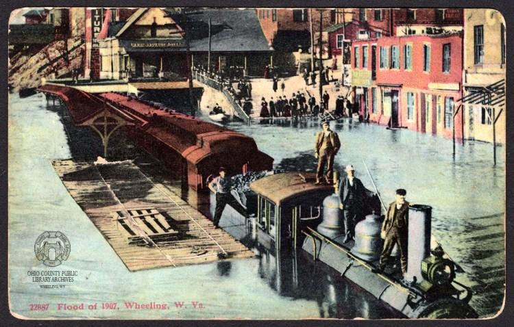 wheeling flood postcard