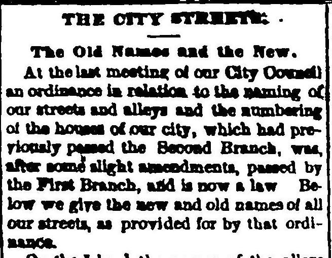 the ordinance to change the street names