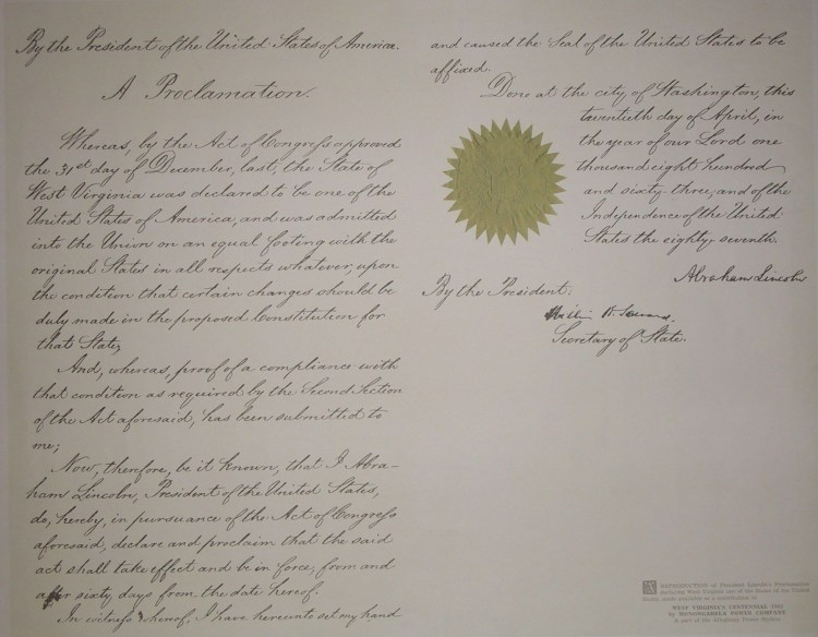 Reproduction of Lincoln's proclamation