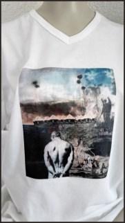 Een ander schilderij van Fred op t-shirt gezet