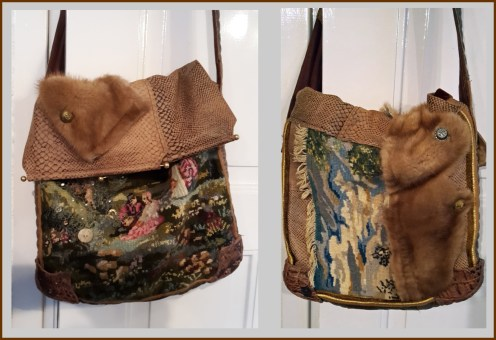 Coby, gemaakt van 1 oude tas, 1 gobelin en wat bont