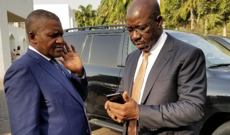 JUST IN!! Dangote Endorses Obaseki For Second Term, Vows To Storm Edo With Business Associates