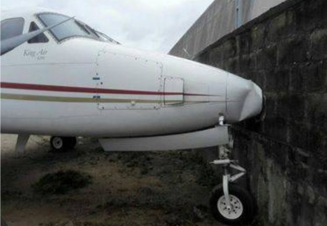 Brake Failure: Plane Crashes Into A Fence At Lagos Airport