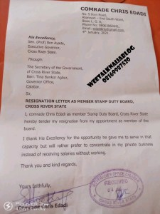BREAKING!! Another Governor Ben Ayade's Aide Resigns