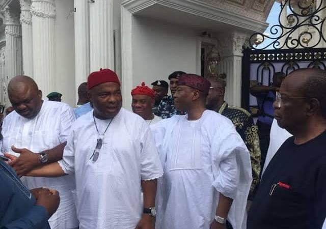 BREAKING!! Unrest In Imo State As Governor Hope Uzodinma Storms Street,Vows To Recover Over 33 Properties From Rochas Okorocha