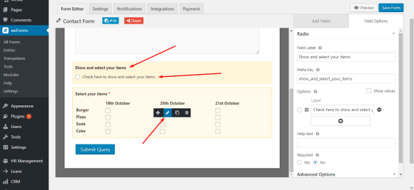 Use radio button to enable checkbox on WordPress forms with weForms