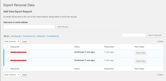 Confirmed personal data export or erase request on weForms