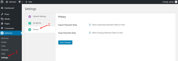 WordPress form privacy settings on weForms