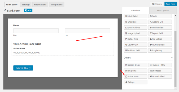 Add an action hook field to your WordPress form using weForms