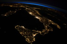 (July 26, 2014) --- One of the Expedition 40 crew members aboard the International Space Station photographed this oblique night image of almost the entire countries of Italy and Sicily on July 26, 2014.