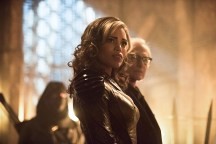 """DC's Legends of Tomorrow -- """"Left Behind"""" -- Image LGN109C_0125b.jpg -- Pictured: Ciara Renee as Kendra Saunders/Hawkgirl and Victor Garber as Professor Martin Stein -- Photo: Dean Buscher/The CW -- © 2016 The CW Network, LLC. All Rights Reserved."""
