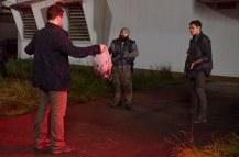 Carolos Aviles as Savior Guard, Jeremy Palko as Andy, and Ian Casselberry as Savior Guard - The Walking Dead _ Season 6, Episode 12 - Photo Credit: Gene Page/AMC