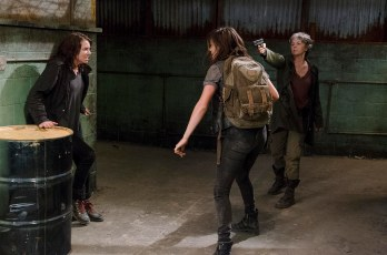 Melissa McBride as Carol Peletier and Lauren Cohan as Maggie Greene - The Walking Dead _ Season 6, Episode 13 - Photo Credit: Gene Page/AMC