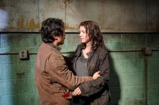 Steven Yeun as Glenn Rhee and Lauren Cohan as Maggie Greene - The Walking Dead _ Season 6, Episode 13 - Photo Credit: Gene Page/AMC