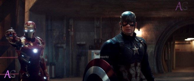Marvel's Captain America: Civil War L to R: Iron Man/Tony Stark (Robert Downey Jr.) and Steve Rogers/Captain America (Chris Evans) Photo Credit: Film Frame © Marvel 2016