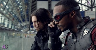 Marvel's Captain America: Civil War L to R: Winter Soldier/Bucky Barnes (Sebastian Stan) and Sam Wilson/Falcon (Anthony Mackie) Photo Credit: Film Frame © Marvel 2016