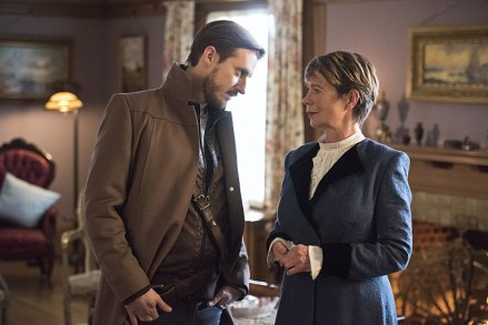 """DC's Legends of Tomorrow -- """"Last Refuge""""-- Image LGN112a_0429b.jpg -- Pictured (L-R): Arthur Darvill as Rip Hunter and Celia Imrie as Mary Xavier -- Photo: Dean Buscher/The CW -- © 2016 The CW Network, LLC. All Rights Reserved."""