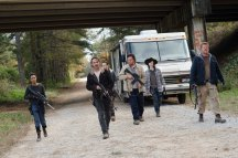 Josh McDermitt as Dr Eugene Porter; Andrew Lincoln as Rick Grimes; Sonequa Martin-Green as Sasha; Michael Cudlitz as Sgt Abraham Ford; Ross Marquand as Aaron; Chandler Riggs as Carl Grimes - The Walking Dead _ Season 6, Episode 16 - Photo Credit: Gene Page/AMC