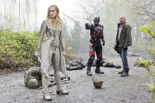 "DC's Legends of Tomorrow --""Legendary""-- Image LGN116a_0175b.jpg -- Pictured (L-R): Caity Lotz as Sara Lance/White Canary, Brandon Routh as Ray Palmer/Atom and Dominic Purcell as Mick Rory/Heat Wave -- Photo: Dean Buscher/The CW -- © 2016 The CW Network, LLC. All Rights Reserved."
