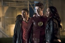 "The Flash -- ""The Race of His Life"" -- Image: FLA223b_0092b.jpg -- Pictured (L-R): Keiynan Lonsdale as Wally West, Grant Gustin as Barry Allen and Candice Patton as Iris West -- Photo: Katie Yu/The CW -- © 2016 The CW Network, LLC. All rights reserved."