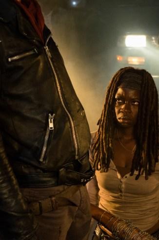Danai Gurira as Michonne, Jeffrey Dean Morgan as Negan- The Walking Dead _ Season 7, Episode 1 - Photo Credit: Gene Page/AMC