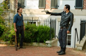 Jeffrey Dean Morgan as Negan, Andrew Lincoln as Rick Grimes- The Walking Dead _ Season 7, Episode 4 - Photo Credit: Gene Page/AMC