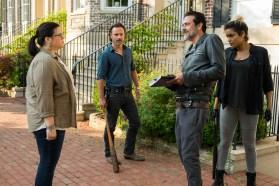 Andrew Lincoln as Rick Grimes, Jeffrey Dean Morgan as Negan, Ann Mahoney as Olivia, Elizabeth Ludlow as Arat- The Walking Dead _ Season 7, Episode 4 - Photo Credit: Gene Page/AMC