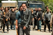 Saviors, Jeffrey Dean Morgan as Negan, Andrew Lincoln as Rick Grimes- The Walking Dead _ Season 7, Episode 4 - Photo Credit: Gene Page/AMC
