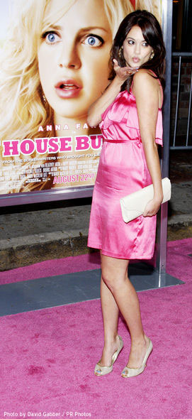 """Rachel Specter blows a kiss to her fans at the pink carpet premiere of """"The House Bunny"""""""