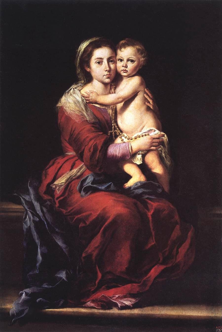 B. Murillo: Maria mit dem Jesuskind und Rosenkranz